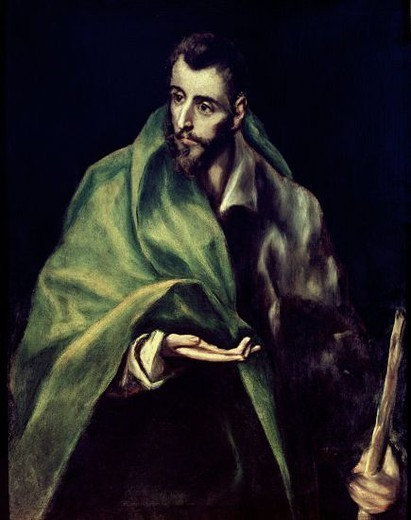 Stock Photo: 4409-3142 Santiago the Major. Santiago el Mayor. 17th century. Oil on canvas. Toledo, House-museum of El Greco. Author: EL GRECO. Location: CASA MUSEO DEL GRECO-COLECCION, TOLEDO, SPAIN.