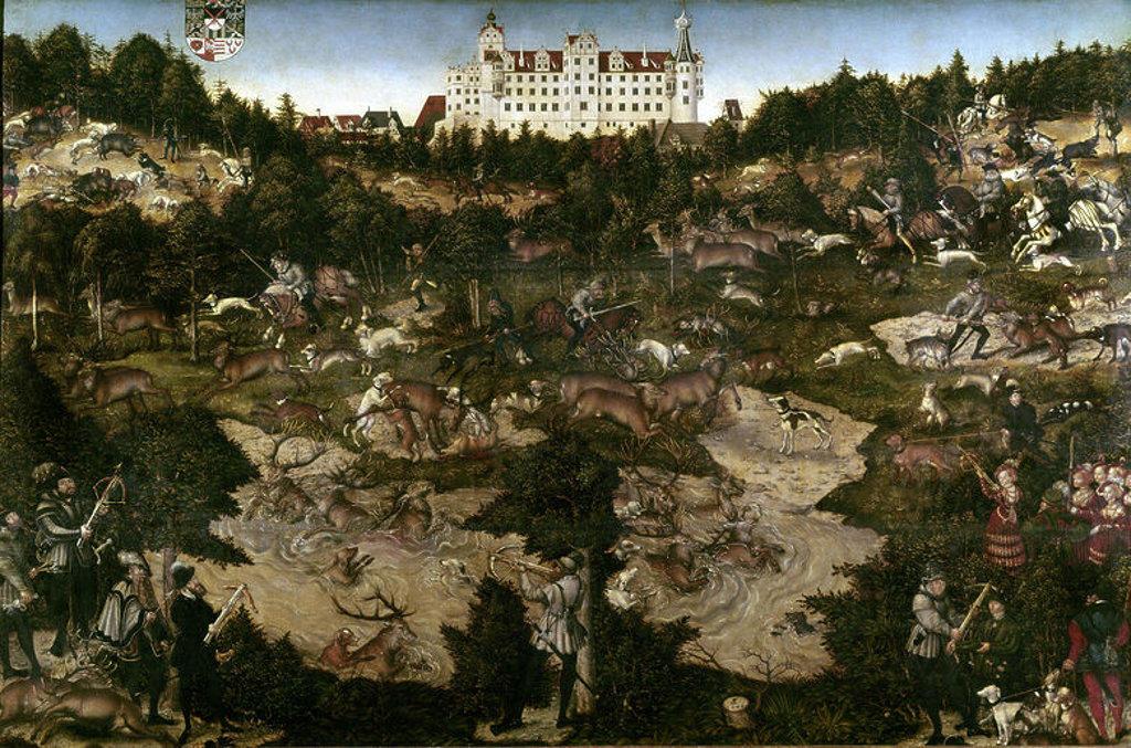 Stock Photo: 4409-3199 German school. Hunt organized for Charles V at Torgau castle. Caceria en honor de Carlos V en el castillo de Torgau 1544. Oil on cloth (114x175). Madrid, Prado museum. Author: LUCAS CRANACH THE ELDER. Location: MUSEO DEL PRADO-PINTURA, MADRID, SPAIN.