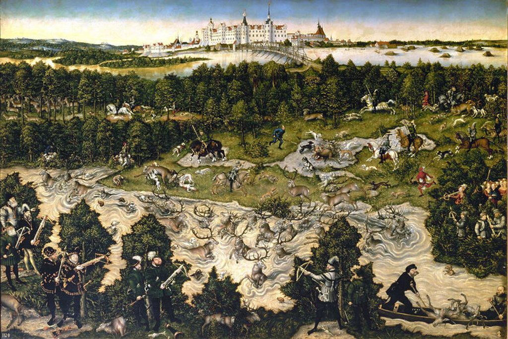 Stock Photo: 4409-3200 German school. Hunt organized for Charles V at Torgau castle. Caceria en honor de Carlos V en el castillo de Torgau 1544. Oil on cloth (114x175). Madrid, Prado museum. Author: LUCAS CRANACH THE ELDER. Location: MUSEO DEL PRADO-PINTURA, MADRID, SPAIN.