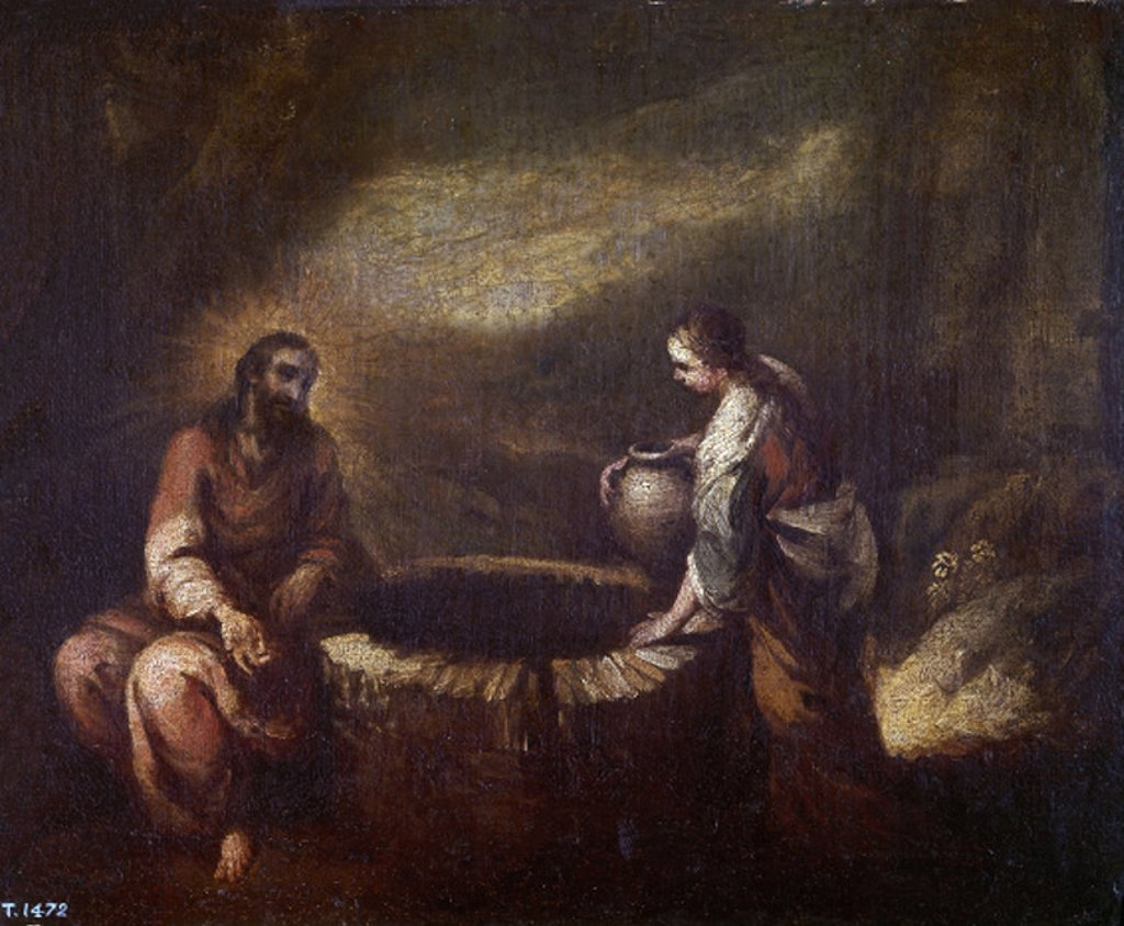Stock Photo: 4409-3213 The Samaritan. La Samaritana. 17th century. Oil on canvas (30x37). Sketch. Spanish baroque. Author: MURILLO BARTOLOME. Location: MUSEO DEL PRADO-PINTURA, MADRID, SPAIN.