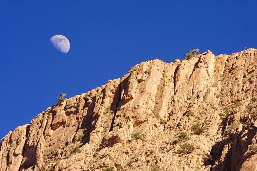 Stock Photo: 4409-32276 Moon in Dades Gorge. Morocco.