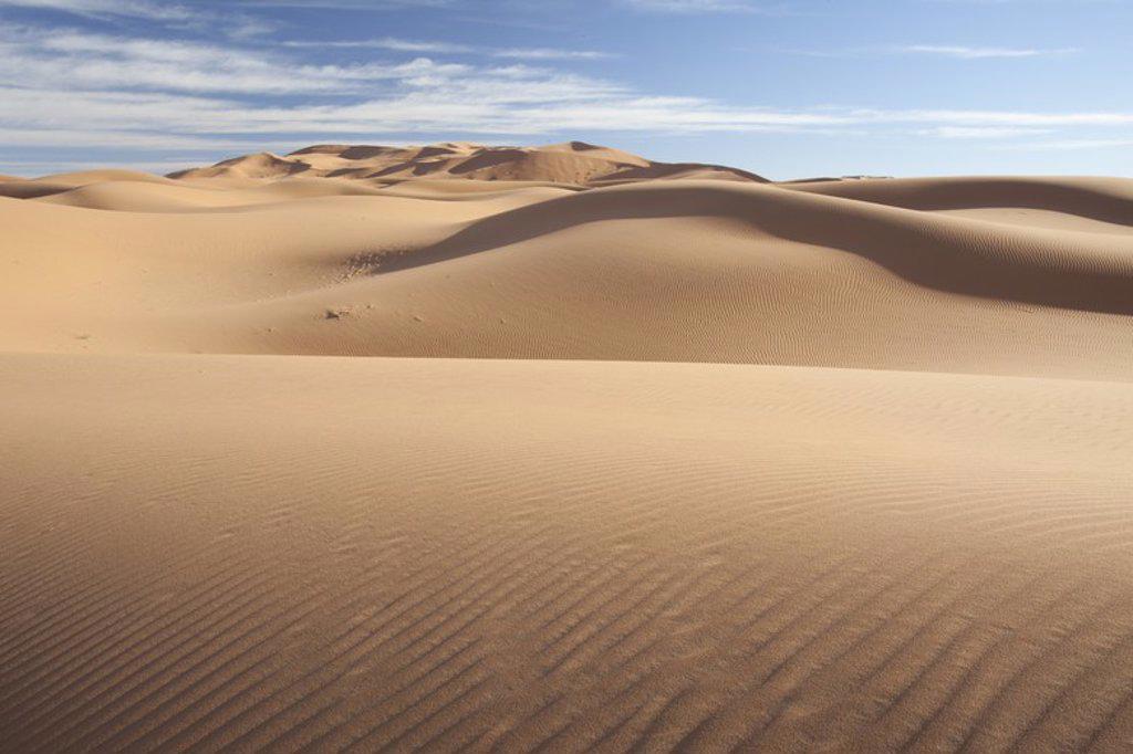 Dunes in Erg Chebbi desert. Morocco. : Stock Photo