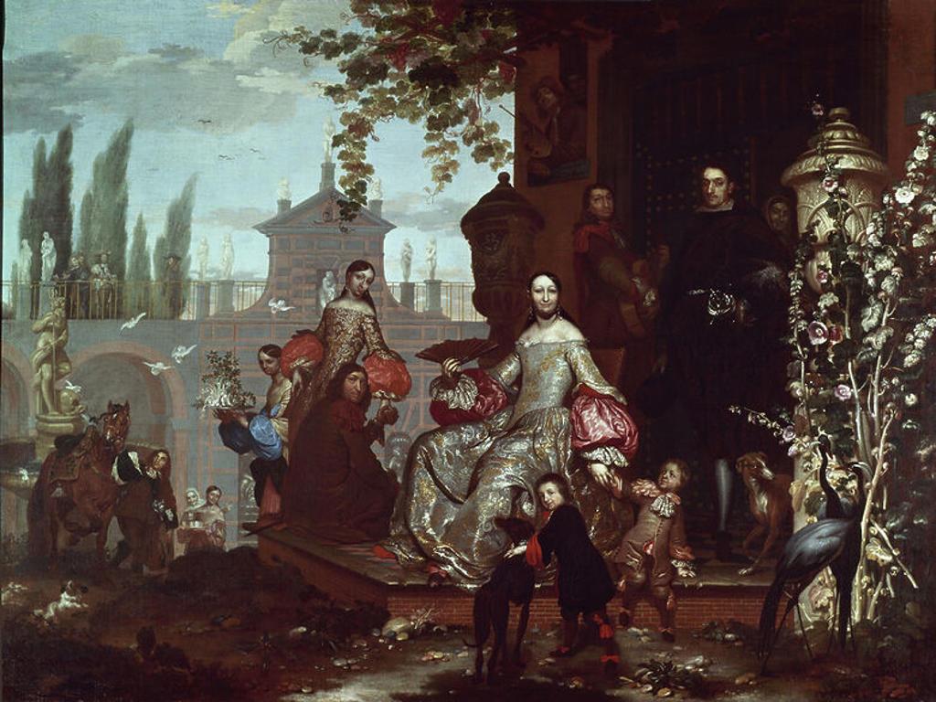 Family portrait. 18th century. Warsaw, museum. Poland. Author: KESSEL II JAN VAN 1654/1708 JAN VAN KESSEL II. Location: MUSEO DEL PRADO-PINTURA, MADRID, SPAIN. : Stock Photo