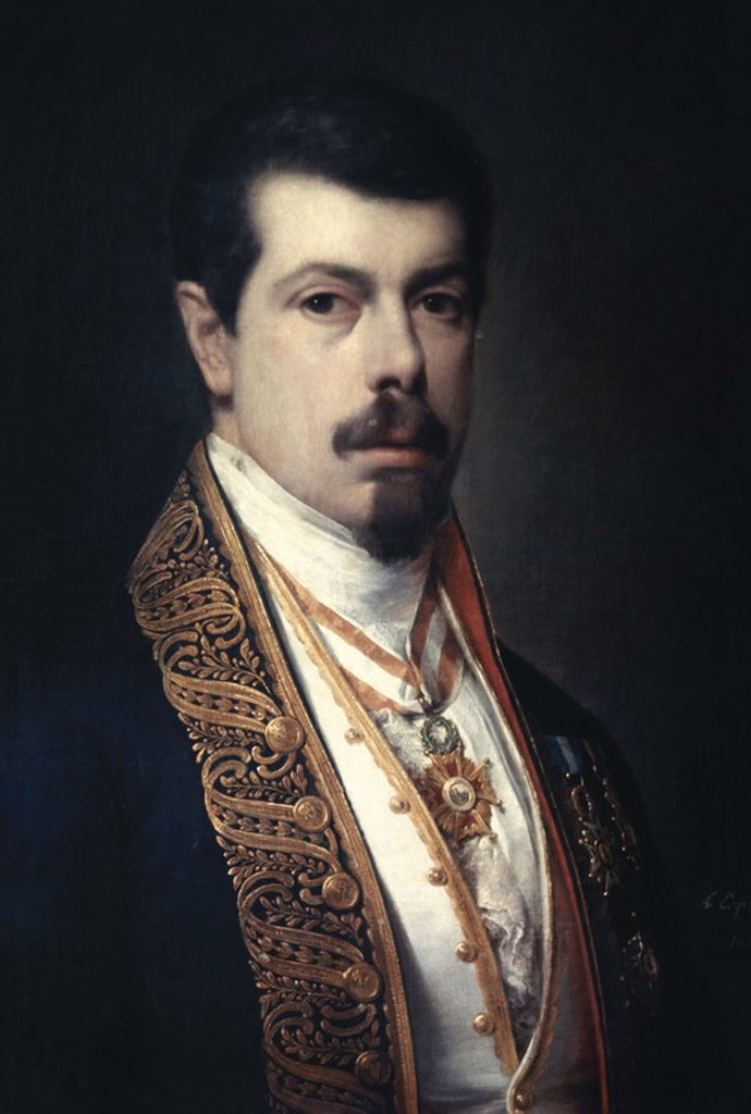 Stock Photo: 4409-3291 Self-portrait. 19th century. Spanish Romanticism. Madrid, Lazaro Galdiano museum. Location: MUSEO LAZARO GALDIANO-COLECCION, MADRID, SPAIN.