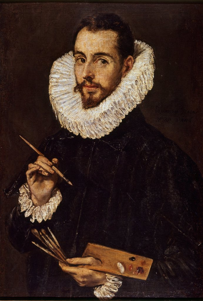 Portrait of Jorge Manuel Theotokopoulos - 1600-05 - 74x50,5 cm - oil on canvas - Spanish Mannerism. Author: EL GRECO. Location: MUSEO DE BELLAS ARTES-CONVENTO DE LA MERCED CALZAD, SEVILLE, SPAIN. Also known as: RETRATO DE JORGE MANUEL THEOTOCOPULOS. : Stock Photo