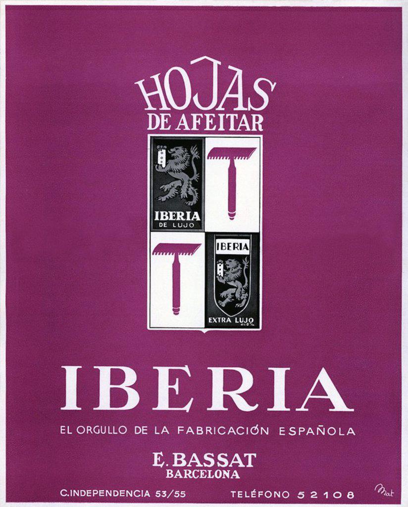 Stock Photo: 4409-33064 Cartel publicitario de Hojas de afeitar Iberia, realizado por Mat en 1940.
