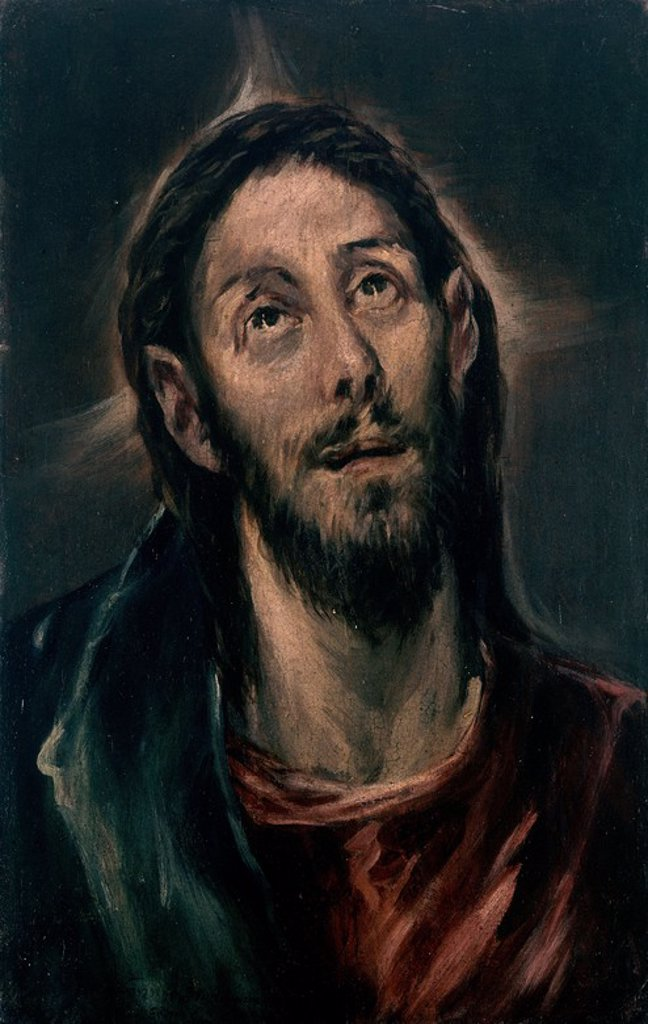 Stock Photo: 4409-3334 CARA DE CRISTO. Author: EL GRECO ATRIBUIDO. Location: PRIVATE COLLECTION, MADRID, SPAIN.
