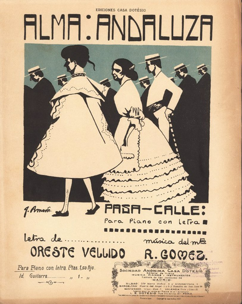 Partitura musical del pasa-calle Alma Andaluza, del maestro R. Gómez. Año 1910. : Stock Photo