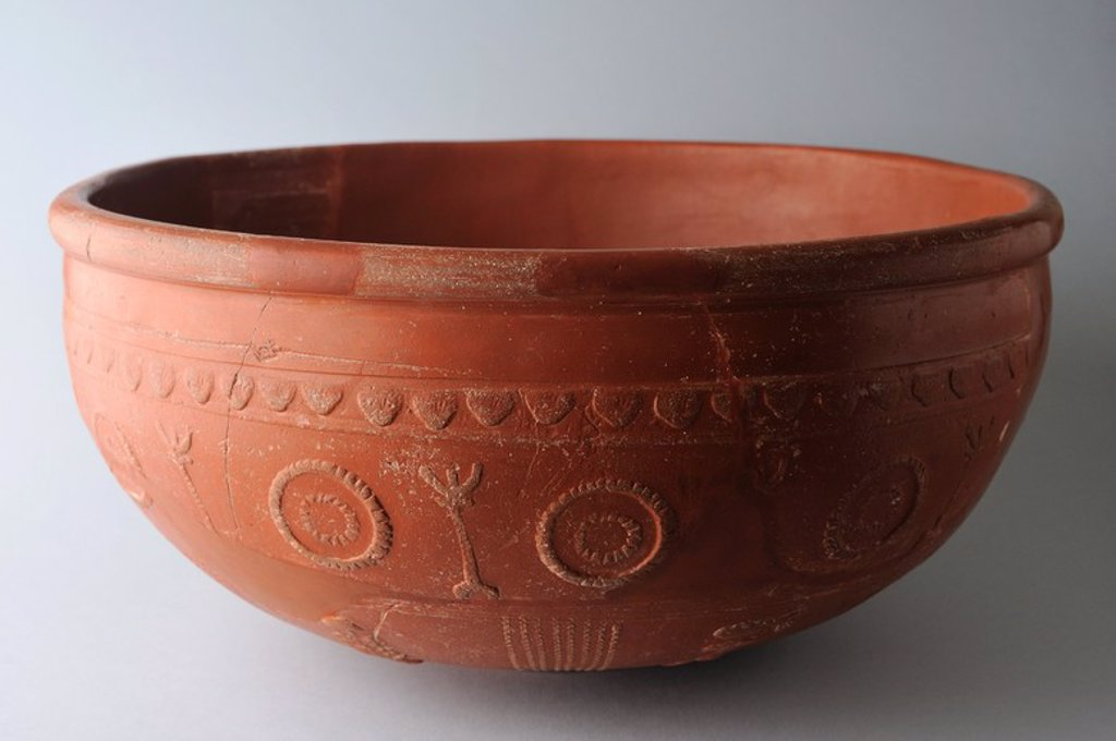 "Stock Photo: 4409-33792 Ceramic Bowl ""Terra Sigillata Hispanic"" type Drag 37 with geometric decoration in concentric circles . Dimensions 20 cm x 12 cm. ( 2 nd CE )- Roman period, from the archaeological site of Complutum in Alcala de Henares (Madrid). SPAIN."