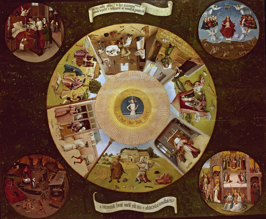 Stock Photo: 4409-3397 Dutch school. Tray of the Seven Deadly Sins. 1480. Oil on canvas (120x150). Madrid, Prado museum. Author: BOSCH, HIERONYMUS. Location: MUSEO DEL PRADO-PINTURA, MADRID, SPAIN.