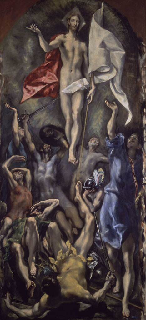 Spanish School. Resurrection. Resurreccion. 1605-1610. Oil on canvas (275 x 127). Madrid, Prado museum. Author: EL GRECO. Location: MUSEO DEL PRADO-PINTURA, MADRID, SPAIN. : Stock Photo