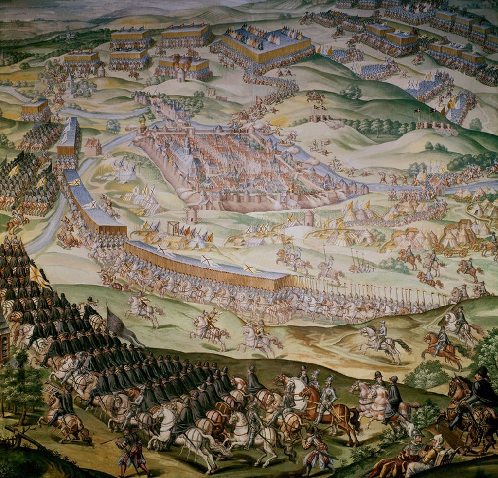 Battle of Saint Quentin - August 1557. Room of the battles of the monastery San Lorenzo del Escorial. Madrid. Author: GRANELLO-TAVARON-CASTELLO Y CAMBIASSO. Location: MONASTERIO-PINTURA, SAN LORENZO DEL ESCORIAL, MADRID, SPAIN. : Stock Photo