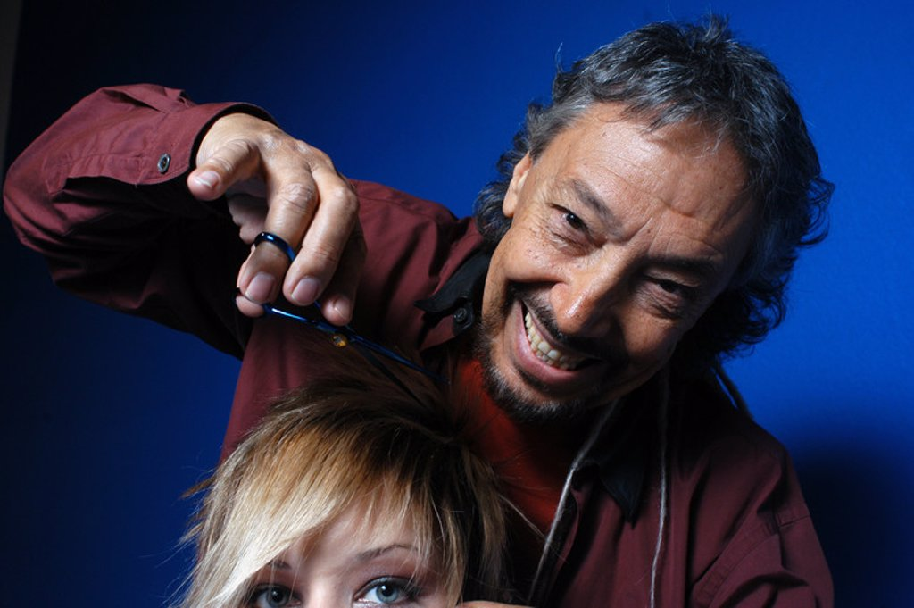 LLONGUERAS, Luis. Spanish hairdresser. Barcelona, may. 04. : Stock Photo