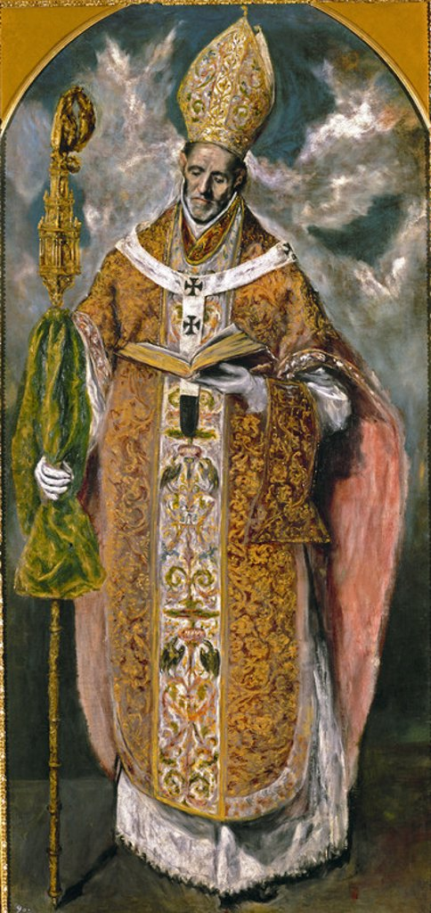 Stock Photo: 4409-3454 Saint Ildefonse or Saint Eugene. San Ildefonse o San Eugenio. 1610-1614. 222x105. Saint Laurent of the Escorial, monastery. Author: EL GRECO. Location: MONASTERIO-PINTURA, SAN LORENZO DEL ESCORIAL, MADRID, SPAIN.