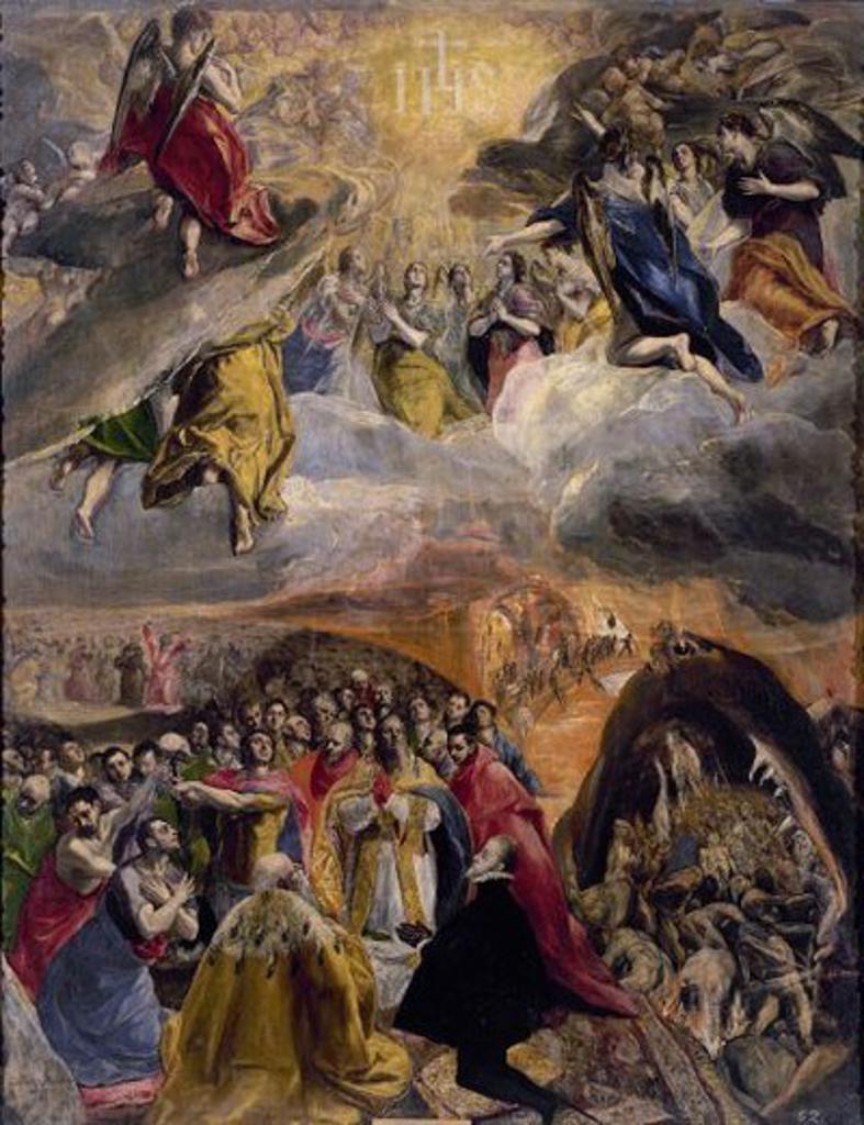 Stock Photo: 4409-3456 Philip II Dreaming. Sueño de Felipe II. 1579. Oil on canvas (165 x 133). St. Lawrence of the Escorial Monastery. Author: EL GRECO. Location: MONASTERIO-PINTURA, SAN LORENZO DEL ESCORIAL, MADRID, SPAIN.