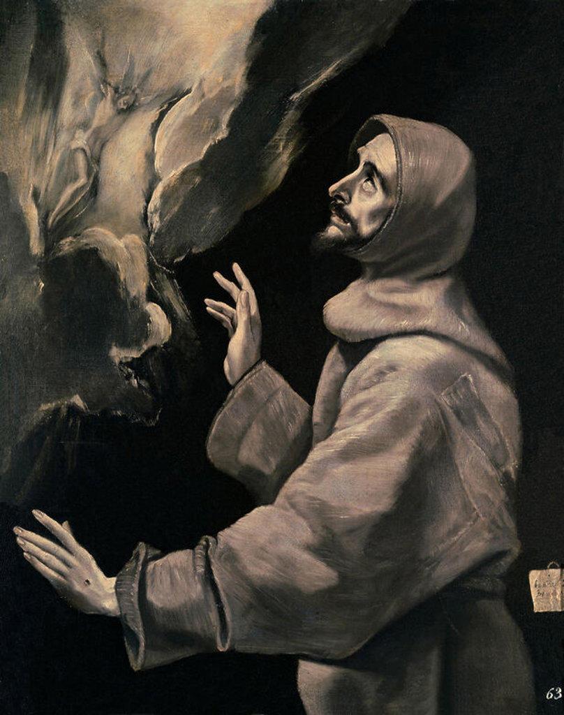 Saint Francis receiving the stigmata. San Francisco recibiendo los estigmas. 1585 . Oil on canvas . 170x87. Saint Laurent of the Escorial, monastery. Author: EL GRECO. Location: MONASTERIO-PINTURA, SAN LORENZO DEL ESCORIAL, MADRID, SPAIN. : Stock Photo