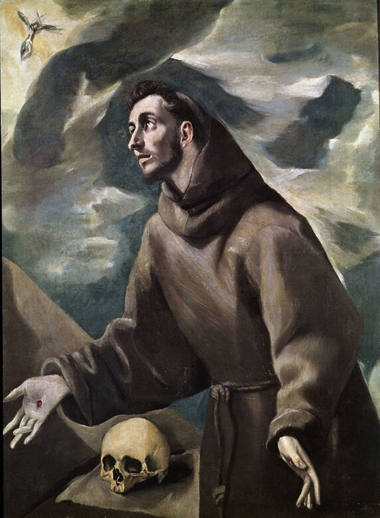 Stock Photo: 4409-3458 SAN FRANCISCO RECIBIENDO LOS ESTIGMAS - SIGLO XVI - MAMIERISMO ESPAÑOL. Author: EL GRECO. Location: MONASTERIO-PINTURA, SAN LORENZO DEL ESCORIAL, MADRID, SPAIN.