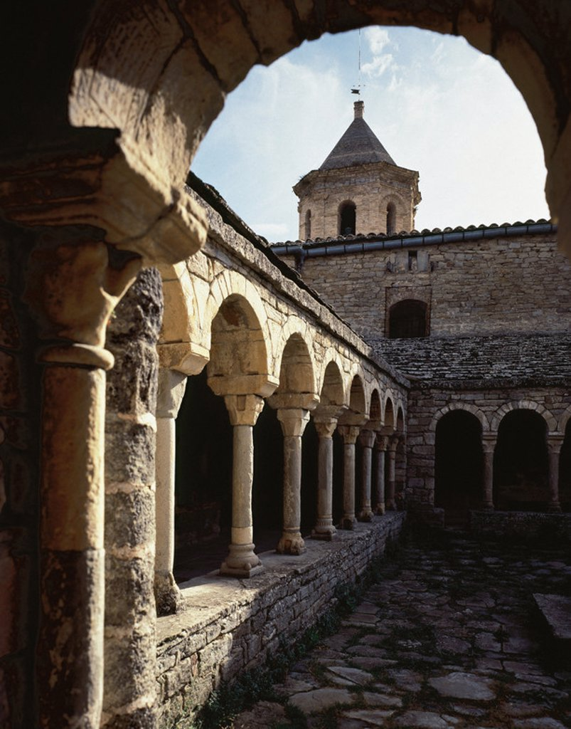 Romanesque. Spain. 12th century. Cloister of the Cathedral of St. Vincent. Roda de Isabena. Aragon. : Stock Photo