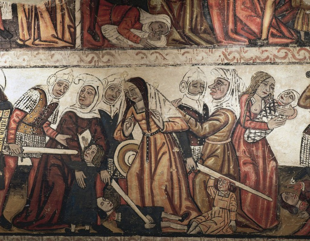 Massacre of the Innocents. Mural painting dating from the fourteenth century. Central nave of the Mondonedo Cathedral. Province of Lugo. Galicia. Spain. : Stock Photo