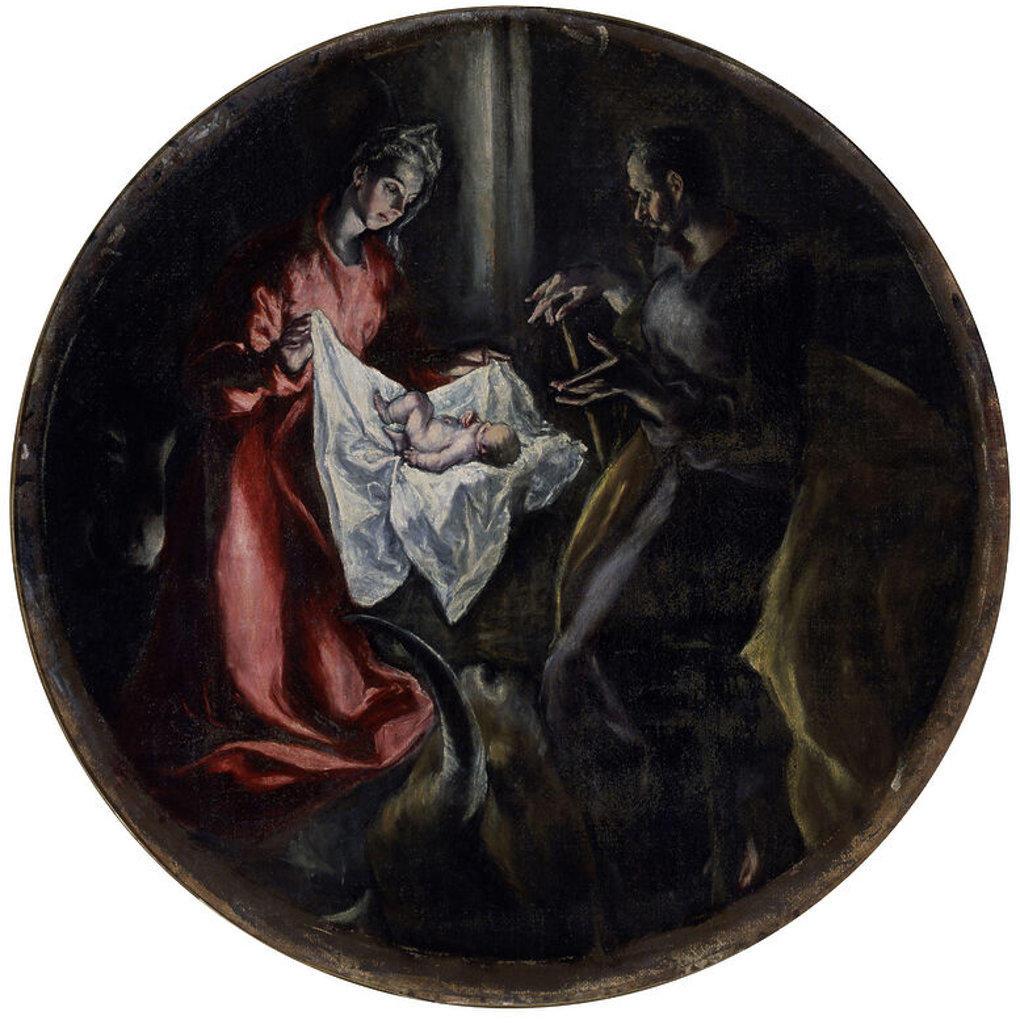 Stock Photo: 4409-3485 Nativity . La Natividad. Oil on board. 128 cm in diameter. 1603-1605. Illescas, Charity Hospital (Toledo). Author: EL GRECO. Location: HOPITAL DE LA CHARITE, ILLESCAS, TOLEDO, SPAIN.