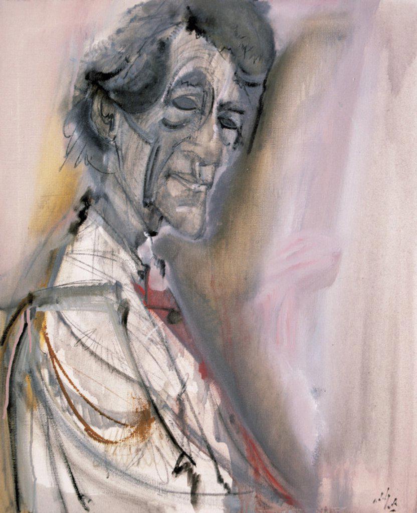 ARTE S. XX. SUIZA. ALBERTO GIACOMETTI (1901-1966). Escultor y pintor suizo. Retrato realizado por el pintor español Alvaro Delgado Ramos (Madrid, 1922) . : Stock Photo