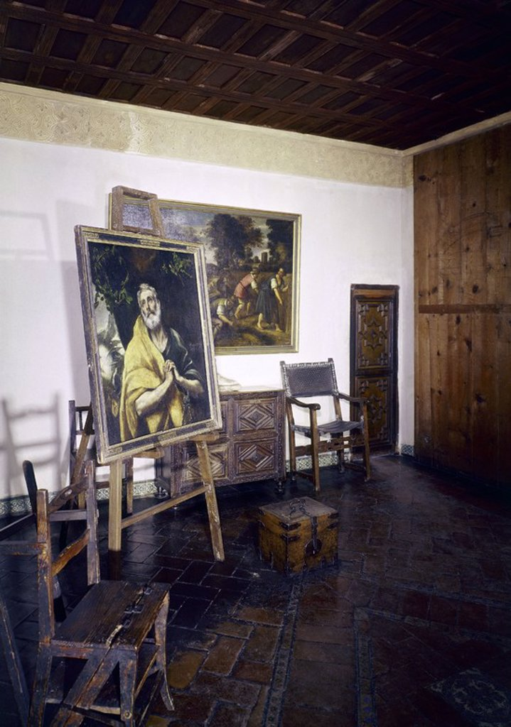 Stock Photo: 4409-3490 Studio. Estudio. Toledo, House-museum of El Greco. Location: CASA MUSEO DEL GRECO-INTERIOR, TOLEDO, SPAIN.