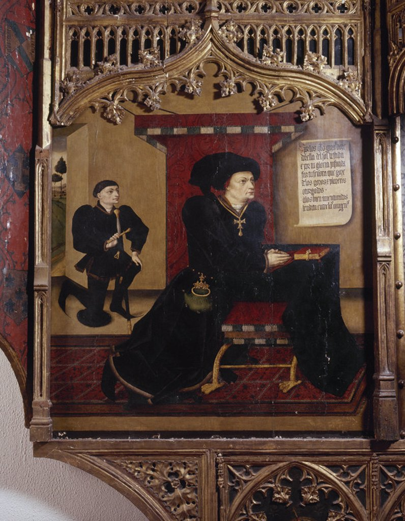 Stock Photo: 4409-34945 SANTILLANA, Iñigo López de Mendoza, marqués de (Carrión de los Condes, 1398-Guadalajara, 1458). Escritor español. Intervino activamente en la política de su tiempo. Retrato del marqués en el retablo gótico en el que están representados él y su esposa. Palacio del Infantado. Guadalajara.