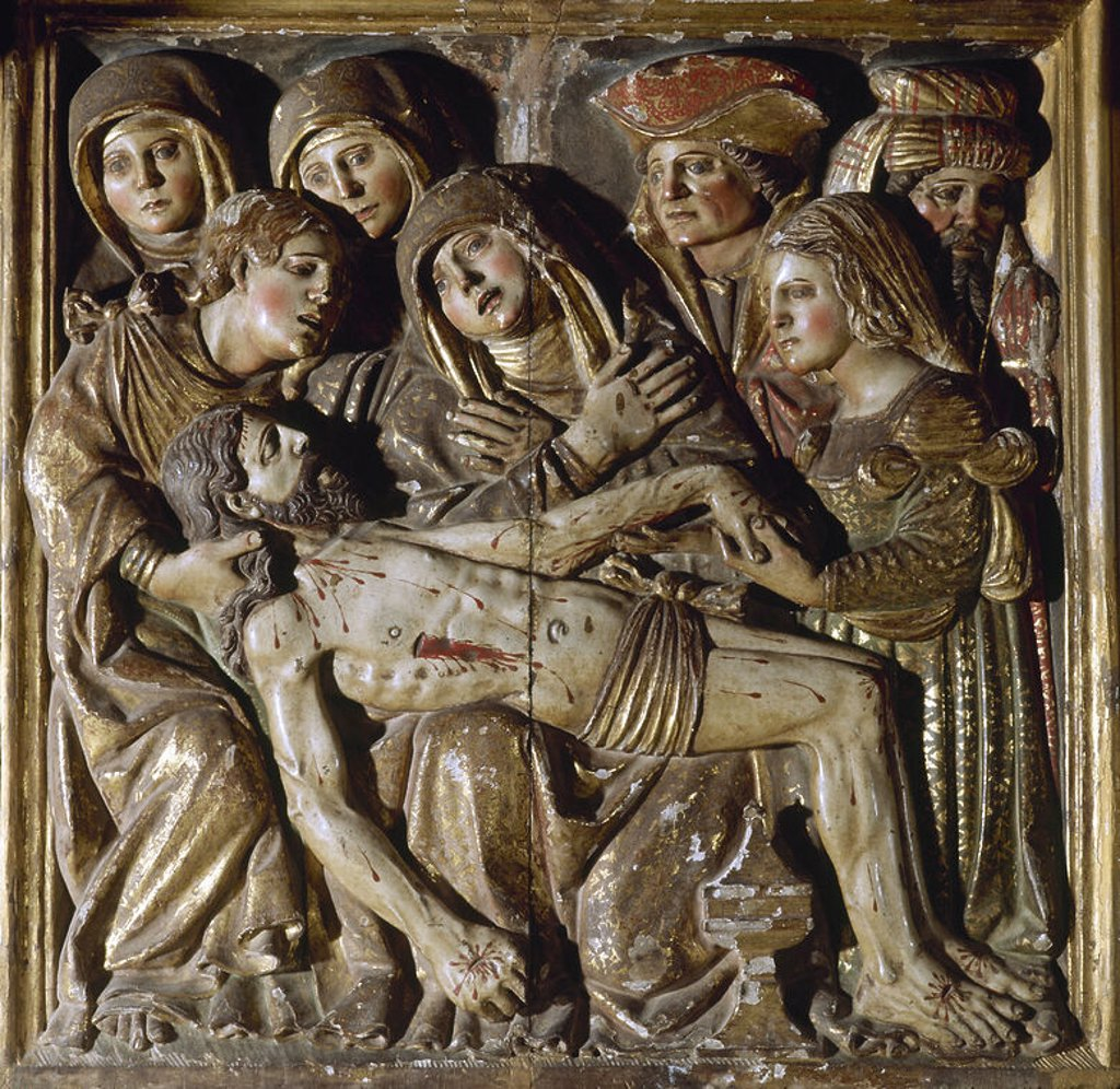 Stock Photo: 4409-34948 Spain. Limpias. Church of Saint Peter. Main altarpiece. 1777. Rococo. Detail depicting Christ dead in the arms of the Virgin Mary. Pieta.