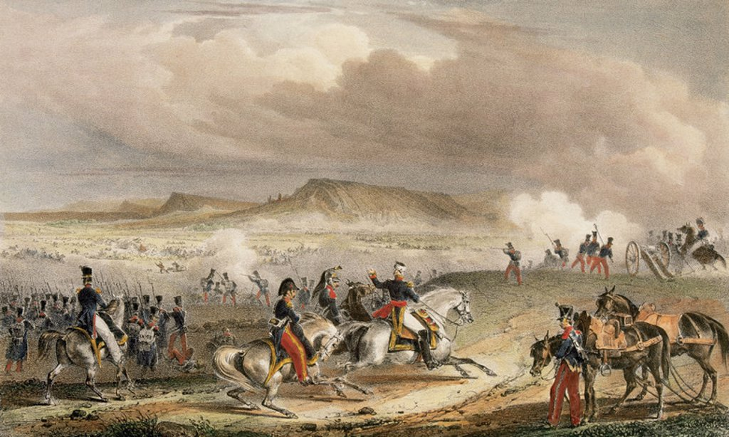Stock Photo: 4409-34953 Spanish War of Independence. Battle of Vic (February 1810).  Colored lithograph by Engelmann (Paris). XIX century. Province of Barcelona. Catalonia. Spain.