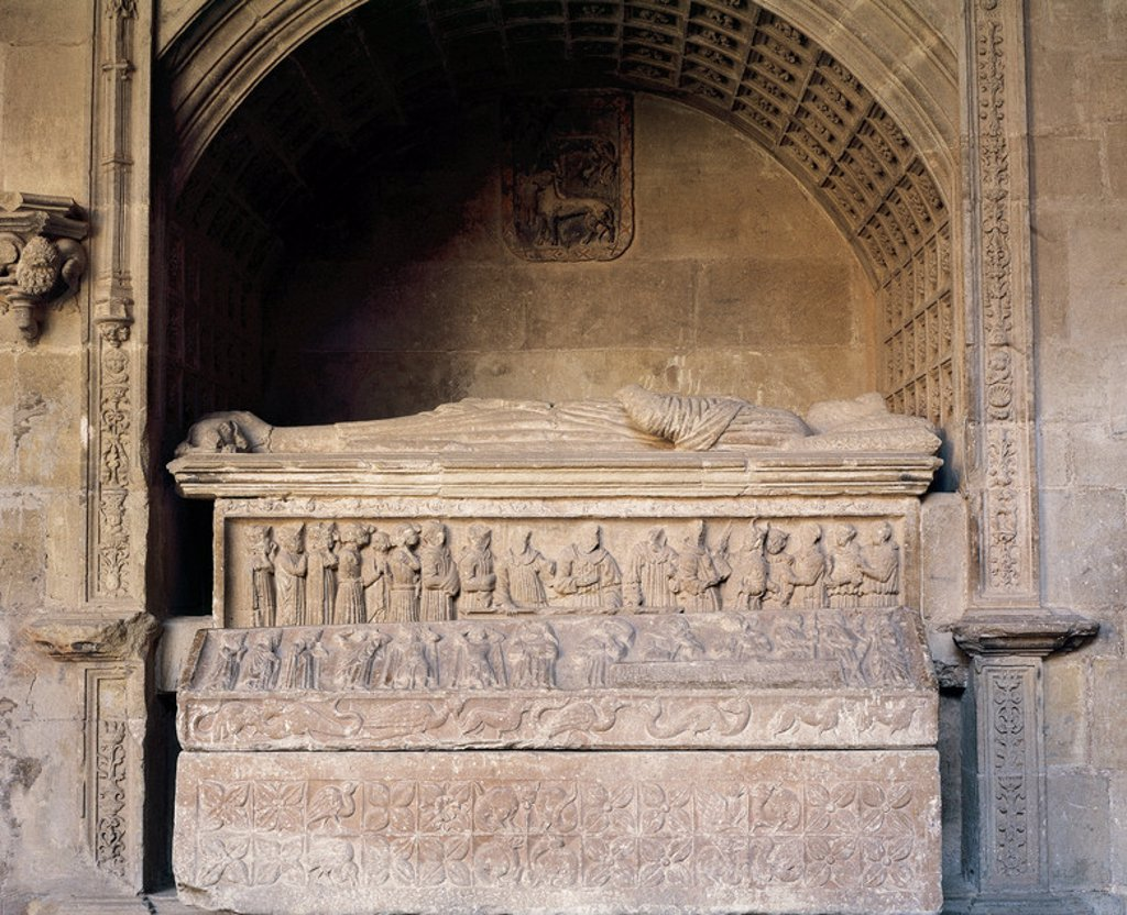 Stock Photo: 4409-34987 Gothic art. Mausoleum of Diego Lopez de Haro and the coffin of his wife Toda Perez de Azagra. Fifteenth century. Church of Santa Mari´a La Real. Na´jera. La Rioja.
