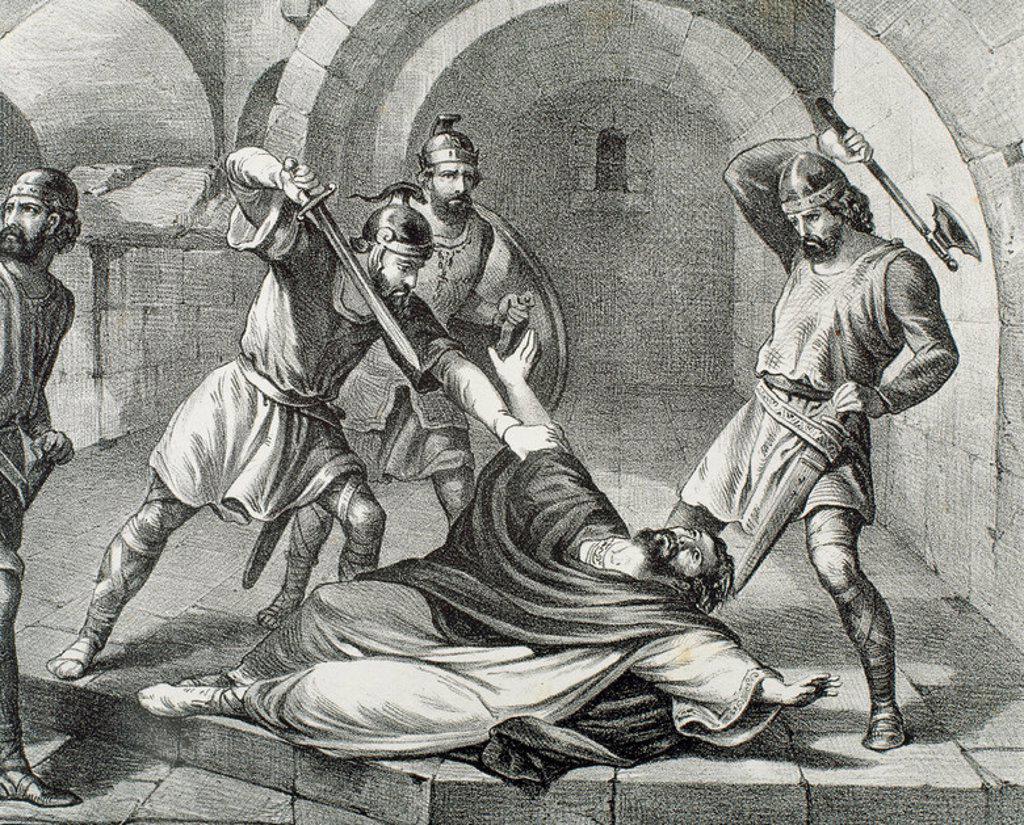 """Stock Photo: 4409-35150 SAN HERMENEGILDO (m. Tarragona, 585). Príncipe visigodo, hijo del rey Leovigildo. Se convirtió al cristianismo. S. VI. """"DEGOLLACION DE SAN HERMENEGILDO"""". Grabado S. XIX."""