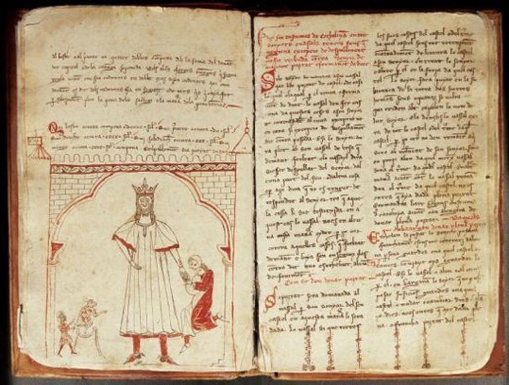 Usages of Catalonia. Catalan manuscript. 14th century. : Stock Photo