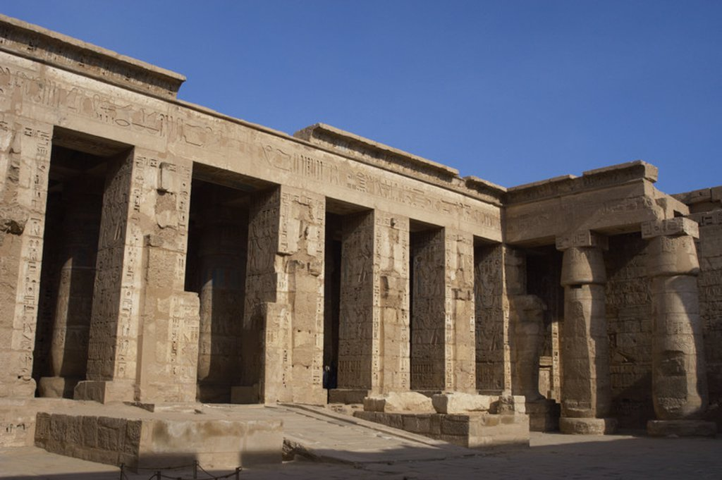 Stock Photo: 4409-35300 Temple of Ramesses III. Twentieth dynasty. New Kingdom. Medinet Habu. West Thebes. Egypt.