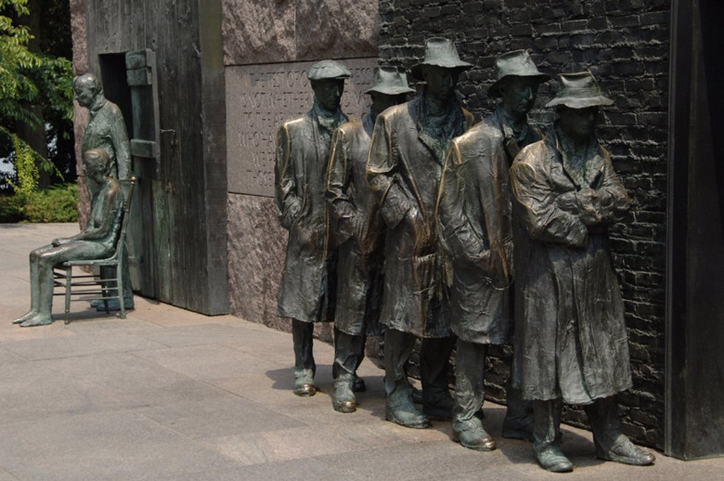 Stock Photo: 4409-35405 Franklin Delano Roosevelt Memorial. Bronze statues that depict the Great Depression. Waiting in a bread line by George Segal. Washington D.C. United States.
