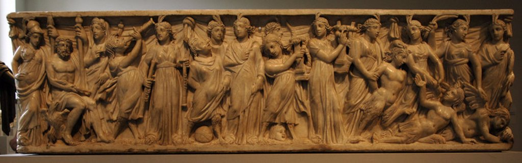 Stock Photo: 4409-35436 Roman Art. Marble sarcophagus with the contest between the Muses and the Sirens. The deities Athena, Zeus, and Hera, assembled at the far left, preside over a musical contest. 3rd century. Late Imperial period. Metropolitan Museum of Art. New York. United States.