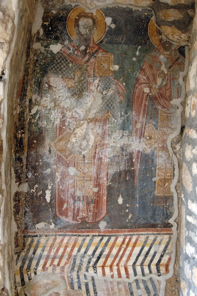 Stock Photo: 4409-35449 BYZANTINE ART. REPUBLIC OF ALBANIA. Frescoes in Lekuresi Castle. Saranda.
