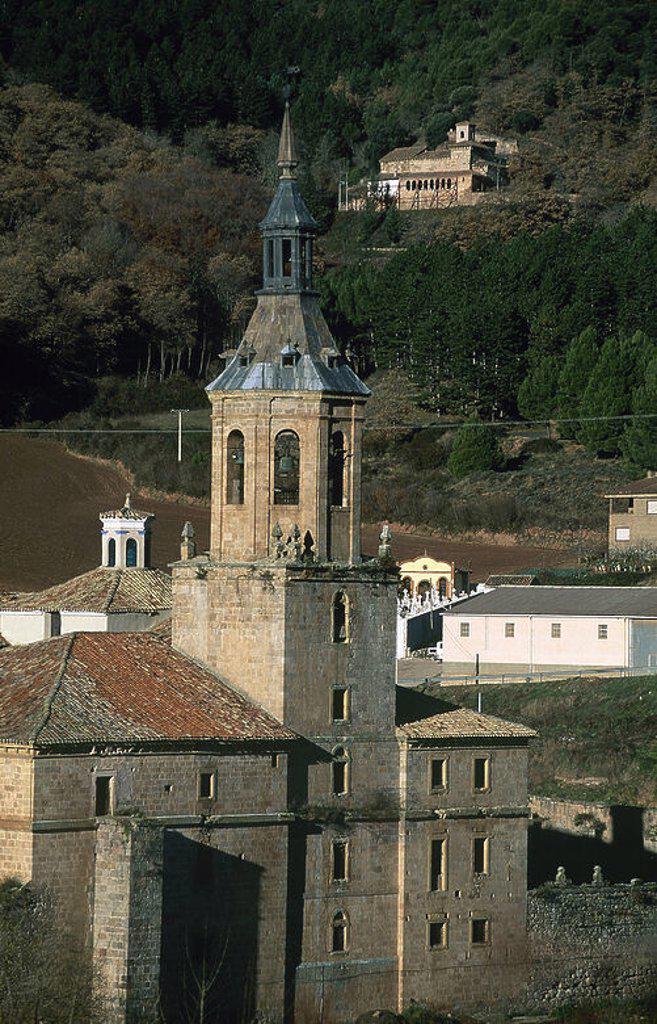 Spain. La Rioja. Monastery of San Millan de Yuso (16th-18th centuries). Exterior detail. At background, Monastery of San Millan de Suso. : Stock Photo