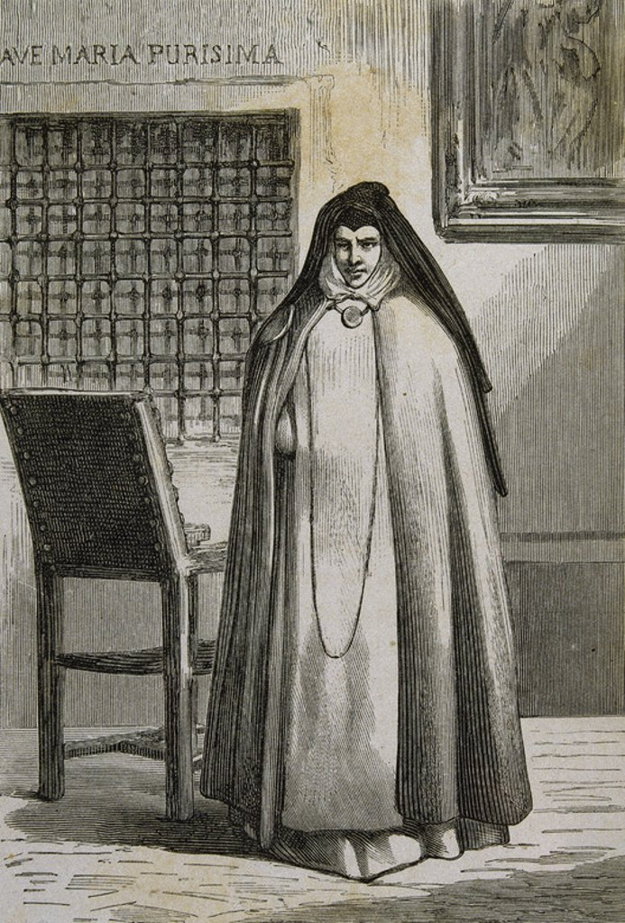 Stock Photo: 4409-35473 Sor Patrocinio (1811-1891). (Rafaela Maria de los Dolores). Spanish nun known as The Nun of the Wounds. She was tried and sentenced to exile for having simulated the appearance of stigmata on his body, and for supporting the Carlist cause. 19th century. Engraving.