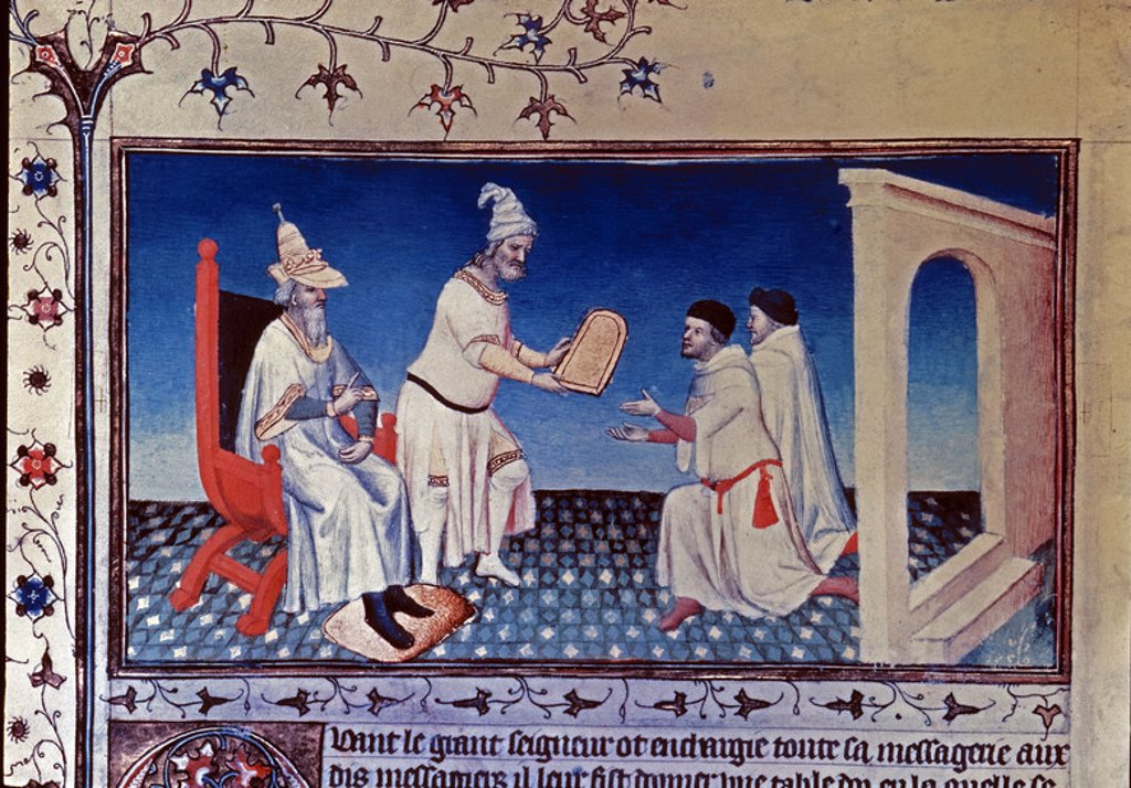 Illustration for the Speculum Historiale. Guyuk Khan and Batoe Khan are giving a letter for pope Innocent IV to Juan de Pian Carpino and Stephen of Bohemia in Karacorum. Author: BEAUVAIS VICENT DE. : Stock Photo