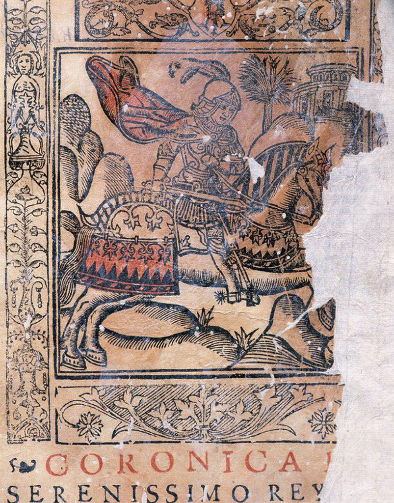 """Stock Photo: 4409-35520 PEDRO I el Cruel (Burgos, 1334-Montiel, 1369). Rey de Castilla y de León, hijo y sucesor de Alfonso XI. Su reinado presidió la grave crisis castellana de mediados del siglo XIV. Grabado del rey en la """"CRONICA DEL SERENISIMO REY PEDRO I"""" del escritor español Pedro LOPEZ DE AYALA (1332-1407). PORTADA impresa en Pamplona en el año 1591. Biblioteca de Cataluña. Barcelona."""