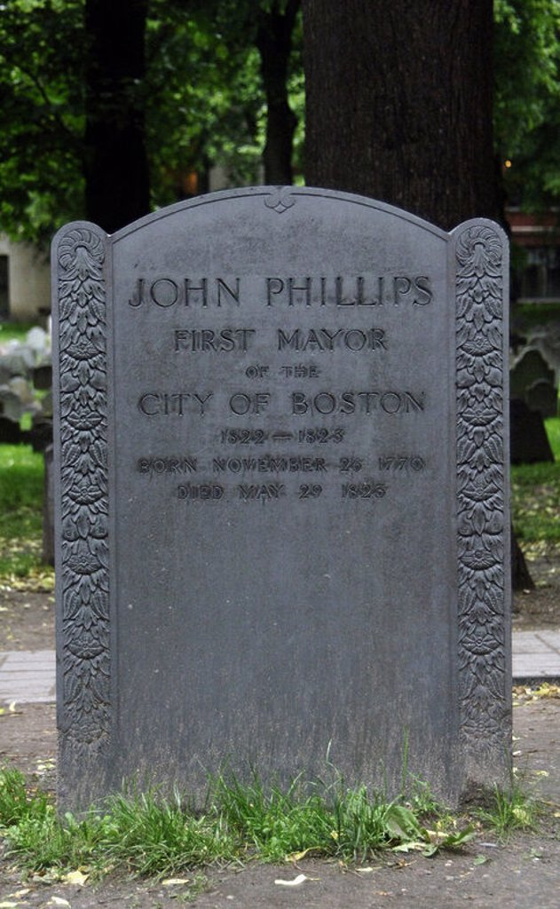 Stock Photo: 4409-35556 John Phillips (1770-1823). American politician. First mayor of Boston (1822-1823). Phillips' tomb in the cemetery Old Granary Burying Ground. Boston. Massachusetts. United States.