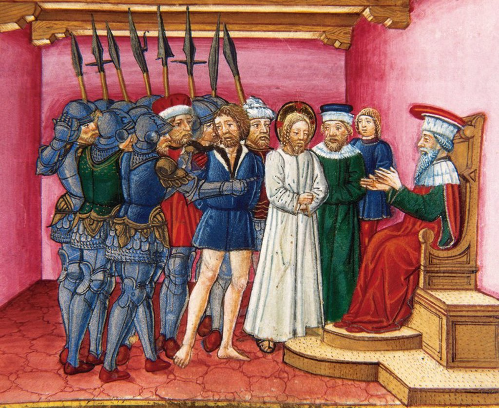 Pontius Pilate asked the Jews if they prefer to free the thief Barabbas, or Jesus. Codex of Predis (1476). Royal Library. Turin. Italy. : Stock Photo