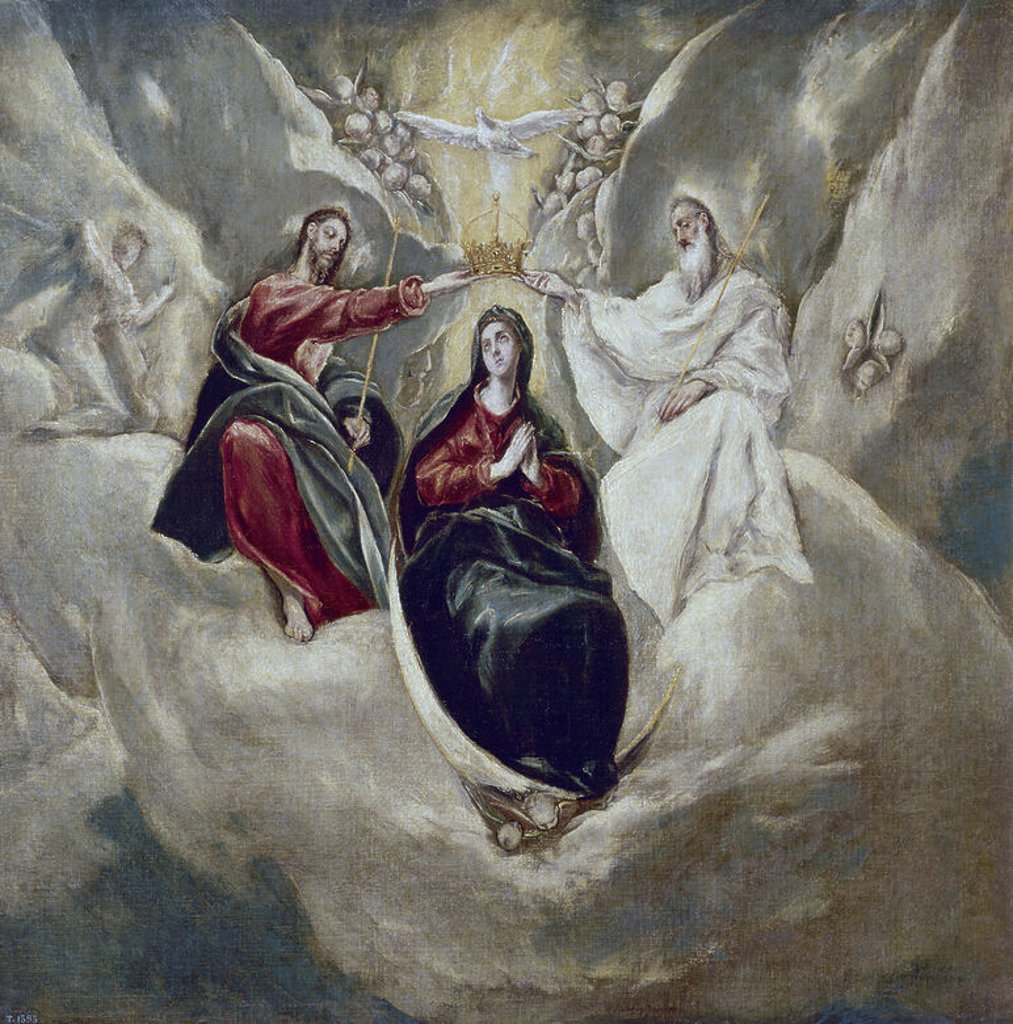 Stock Photo: 4409-3580 The Coronation of the Virgin - 1592 - 99x101 cm - oil on canvas - NP 2645. Author: EL GRECO. Location: MUSEO DEL PRADO-PINTURA, MADRID, SPAIN. Also known as: LA CORONACION DE LA VIRGEN.