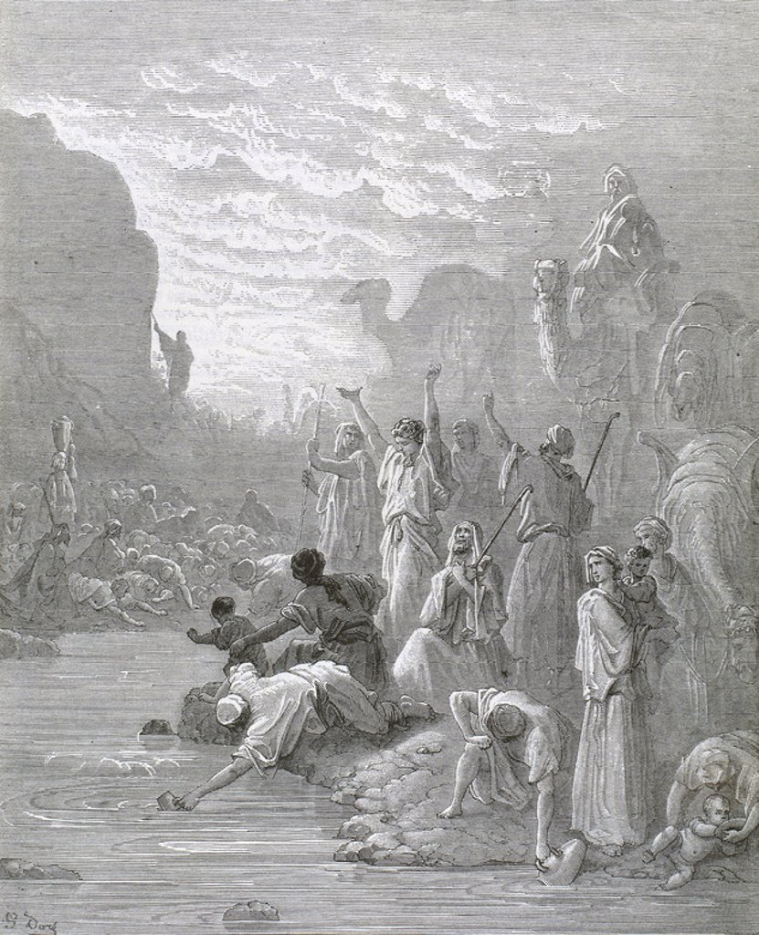 Stock Photo: 4409-35819 Moses brings forth water from the rock. Book of Exodus. G. Dore engraving.