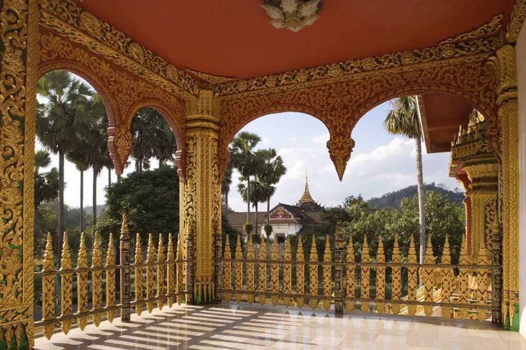 MUSEO NACIONAL. Antiguo Palacio Real, construído a principios del siglo XX. Vista parcial de la SALA PHA BANG. LUANG PRABANG (Patrimonio de la Humanidad). Laos. : Stock Photo