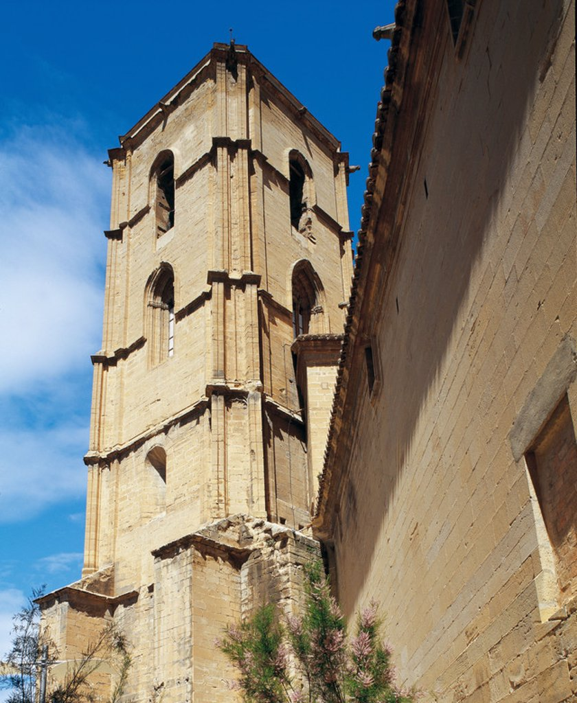 Stock Photo: 4409-35865 Spain. Aragon. Alcaniz. Bell tower (14th century) of the ancient Church of Saint Mary Major, on which they built the Collegiate Church of Saint Mary Major  (17th and 18th centuries).