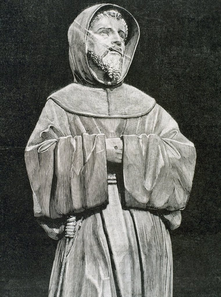 Stock Photo: 4409-35994 Saint Francis of Assisi (Giovanni Francesco di Bernardone (1181/1182-1226) . Catholic friar and preacher. He founded Franciscan orders of the Friars Minor, the womanÕs Order of St. Clare, and the lay Third Order of Saint Francis. Eengraving.