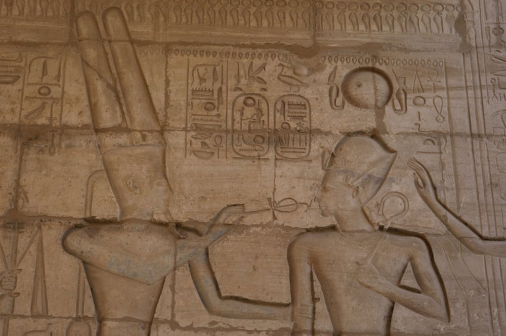 Relief depicting god Amun giving the ankh to the Pharaoh Ramses II. Ramesseum. 13th century. Nineteen dynasty. New Kingdom. Necropolis of Thebes. Valley of the kings. Egypt. : Stock Photo