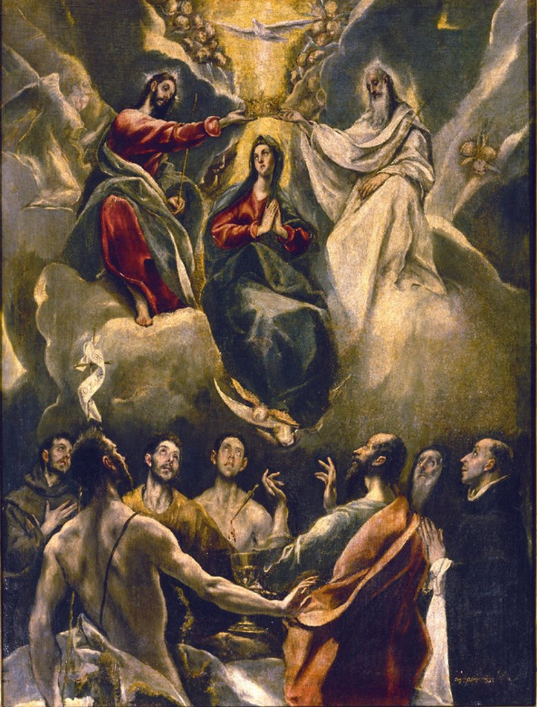 The Coronation of the Virgin - oil on canvas - 1591/92 - 105x80cm. Author: EL GRECO. Location: MONASTERIO-PINTURA, GUADALUPE, CACERES, SPAIN. Also known as: LA CORONACION DE LA VIRGEN. : Stock Photo