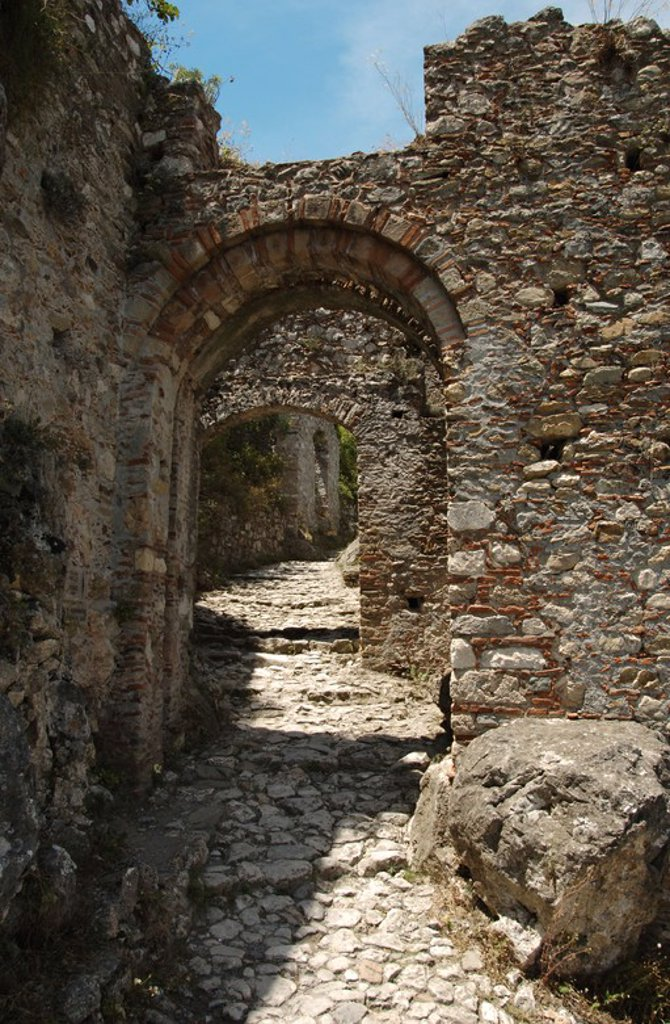 Stock Photo: 4409-36163 Greece. Mystras. Gate of Monemvasia, also know as Sideroporta (Iron Gate). 13th Century. Fortified gate. Peloponnese.
